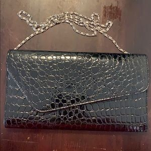 Patent Leather clutch with metal chain strap